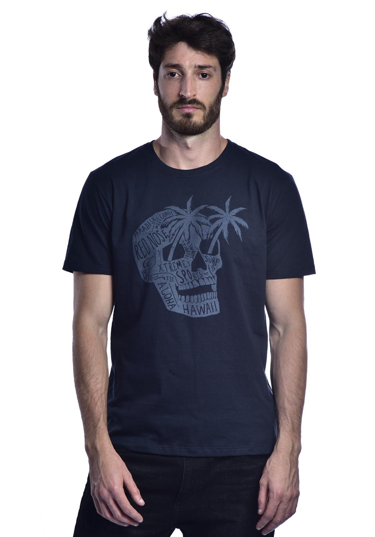 Camiseta Red Nose Caveira Aloha Azul Marinho P
