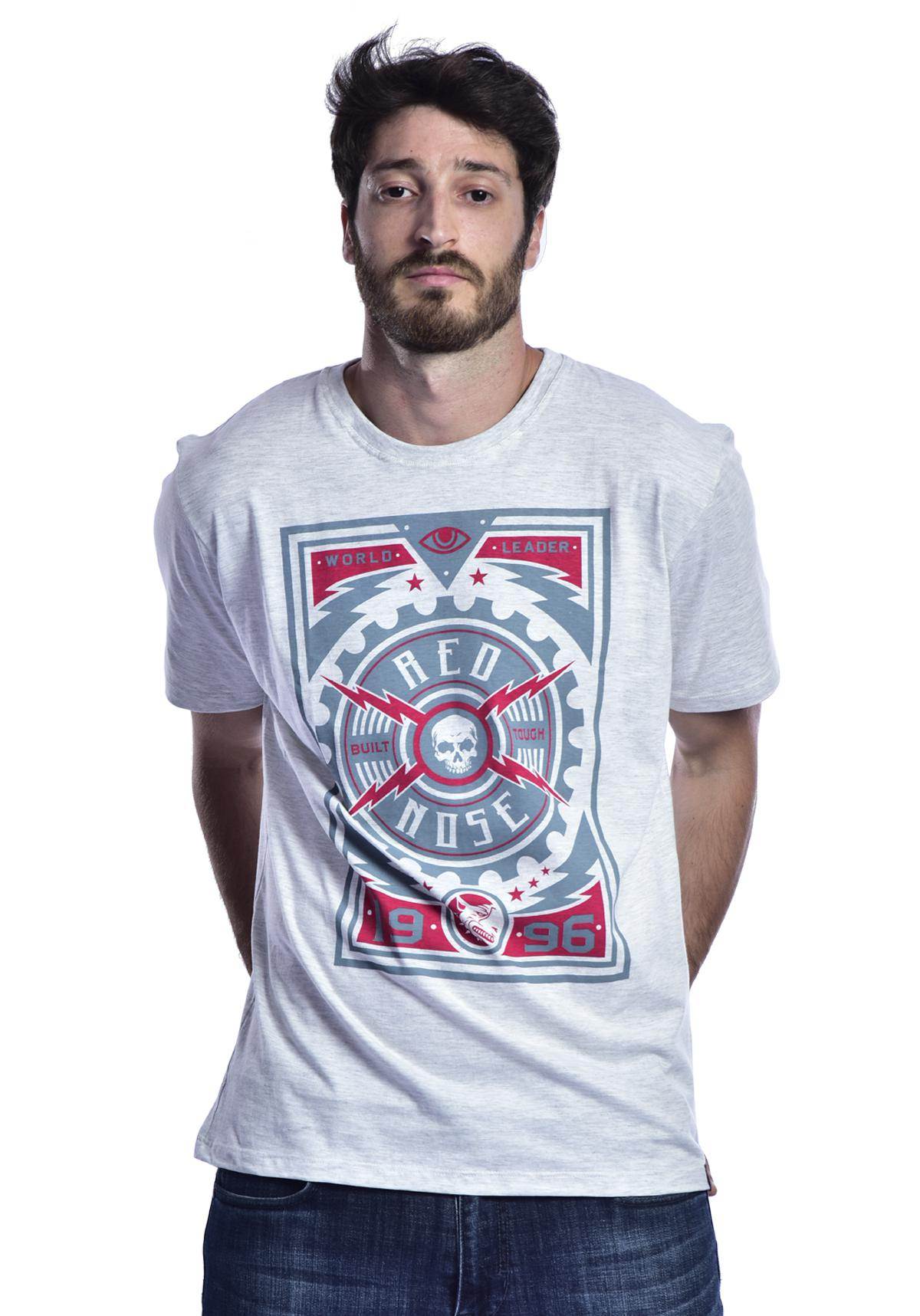 Camiseta Red Nose Skull - Cinza Claro P