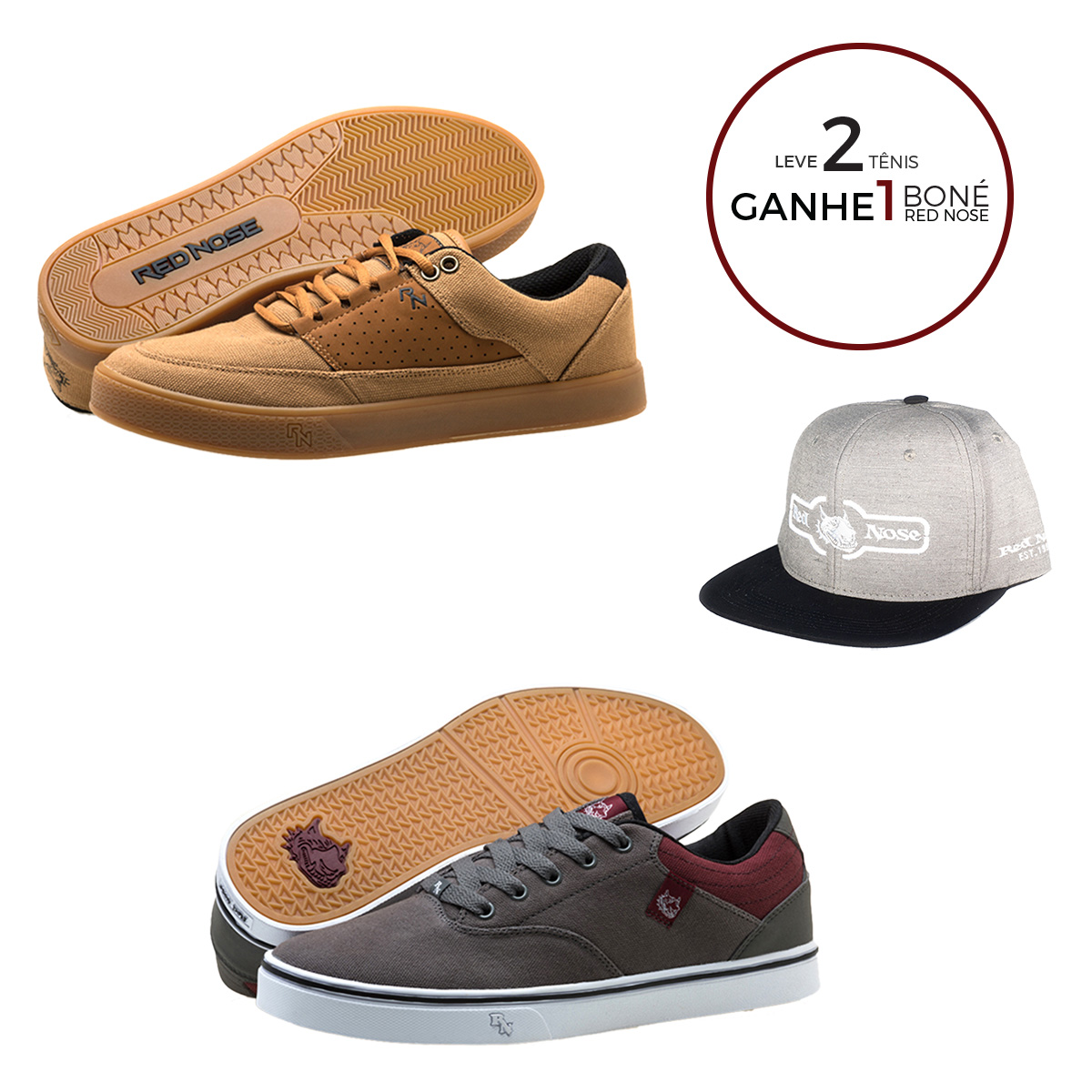 KIT Tênis Red Nose Kingpin + Arion + Boné Red Nose Snapback com ajuste Cinza e Marrom 37