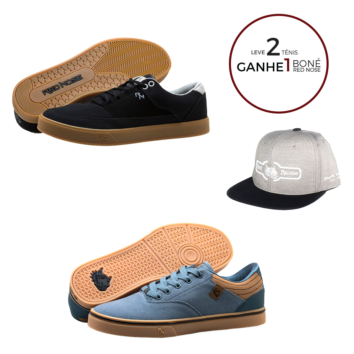KIT Tênis Red Nose Kingpin + Arion + Boné Red Nose Snapback com ajuste - 02 Azul e Preto 37