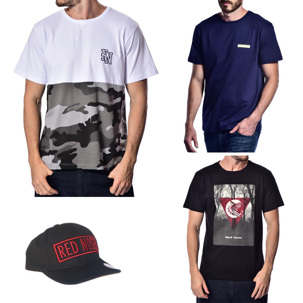 KIT 3 Camisetas e Boné Red Nose - Branco e Azul Marinho e Preto P