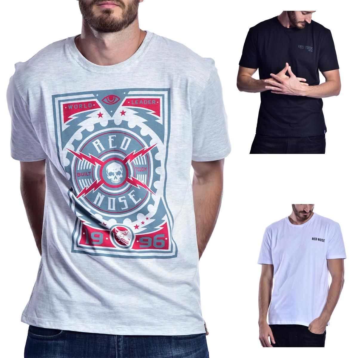 KIT 3 Camisetas Red Nose  - Cinza e Preto e Branco P