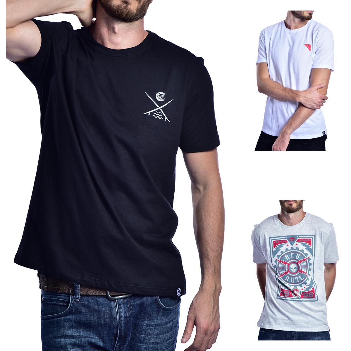 KIT 3 Camisetas Red Nose  - Preto e Branco e Cinza Escuro P