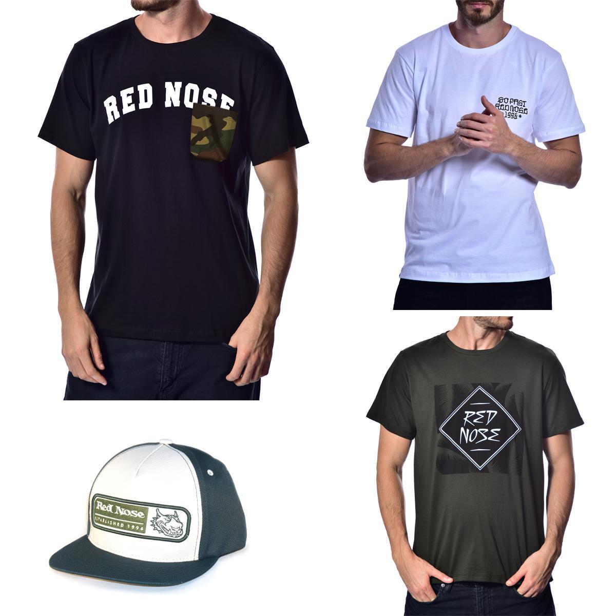 KIT 3 Camisetas e Boné Red Nose - Preto e Branco e Verde Musgo P