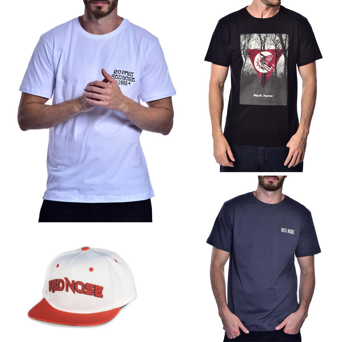 KIT 3 Camisetas e Boné Red Nose - Branco e Preto e Cinza P
