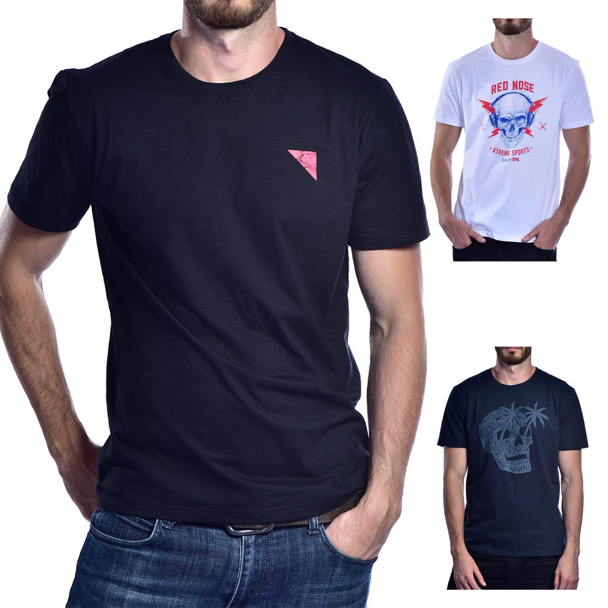KIT 3 Camisetas Red Nose  - Preto e Branco e Azul Royal P