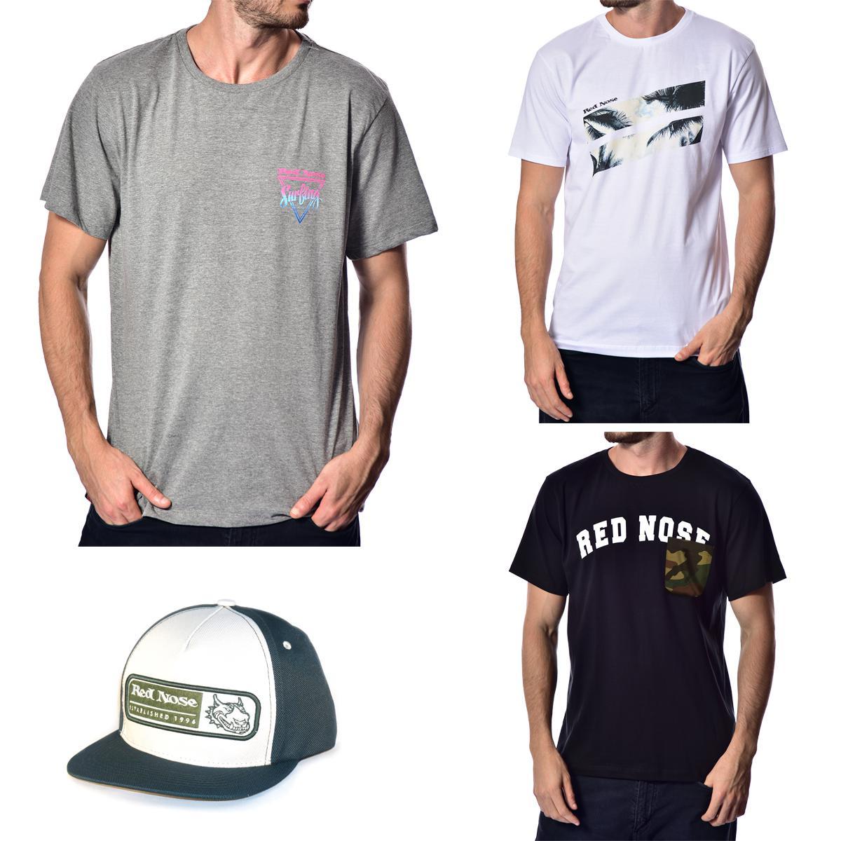 KIT 3 Camisetas e Boné Red Nose - Cinza e Branco e Preto P