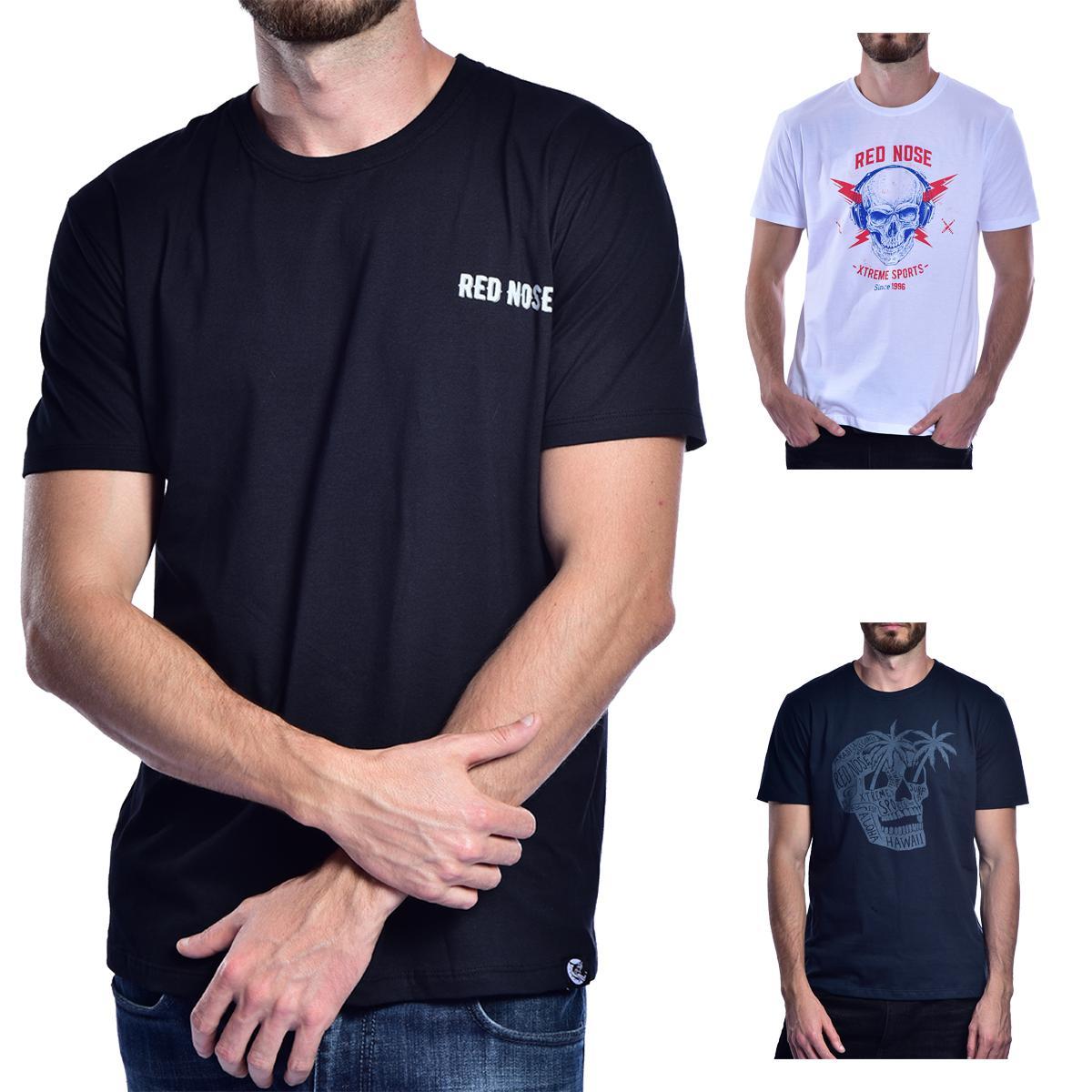 KIT 3 Camisetas Red Nose  - Preto e Branco e Azul Marinho P