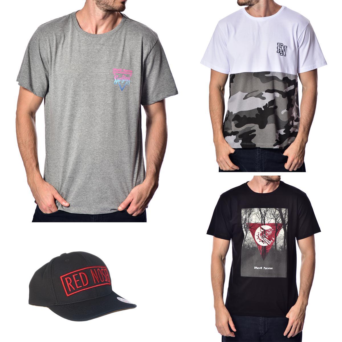 KIT 3 Camisetas e Boné Red Nose - Cinza Escuro e Branco e Preto P