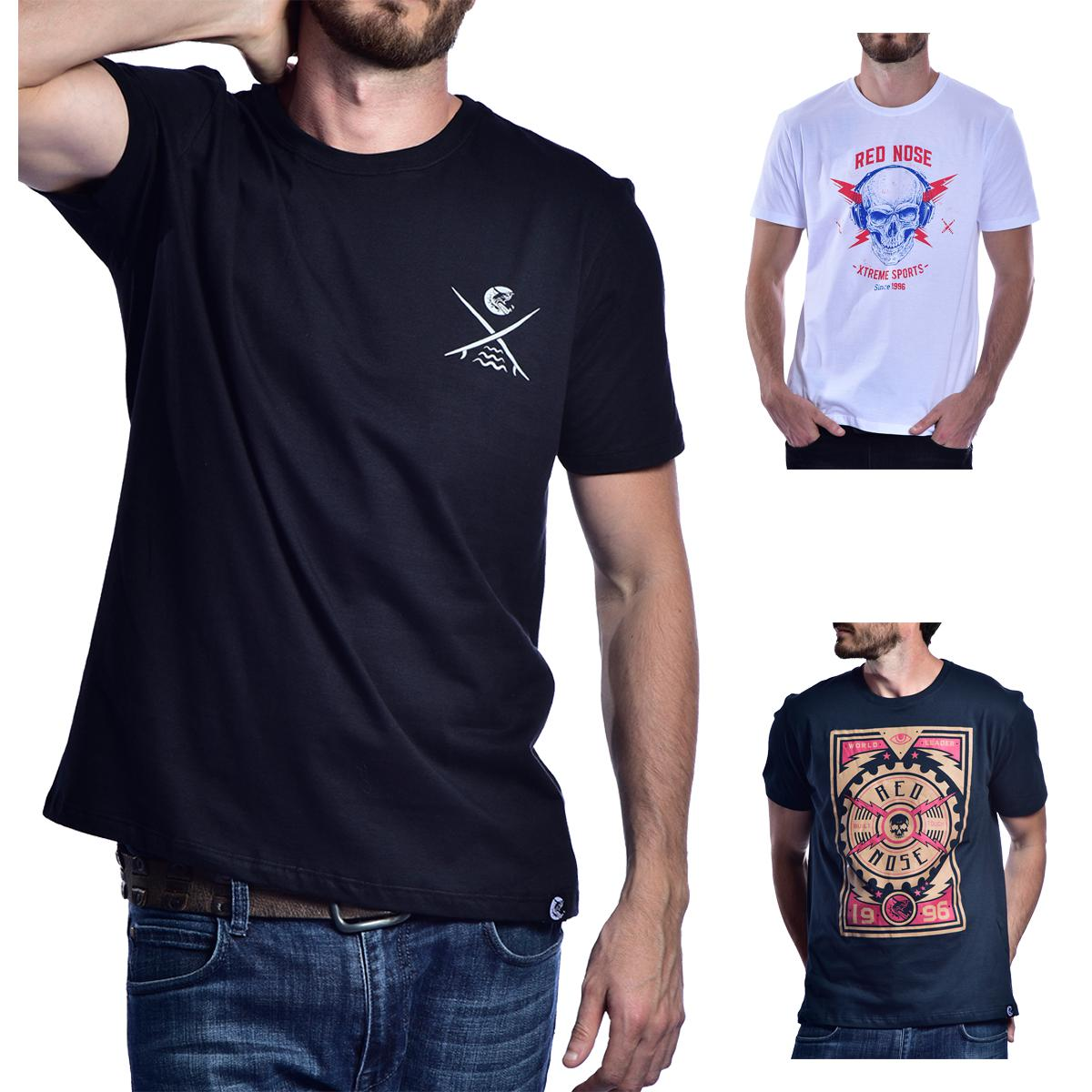 KIT 3 Camisetas Red Nose  - Preto e Branco e Azul P