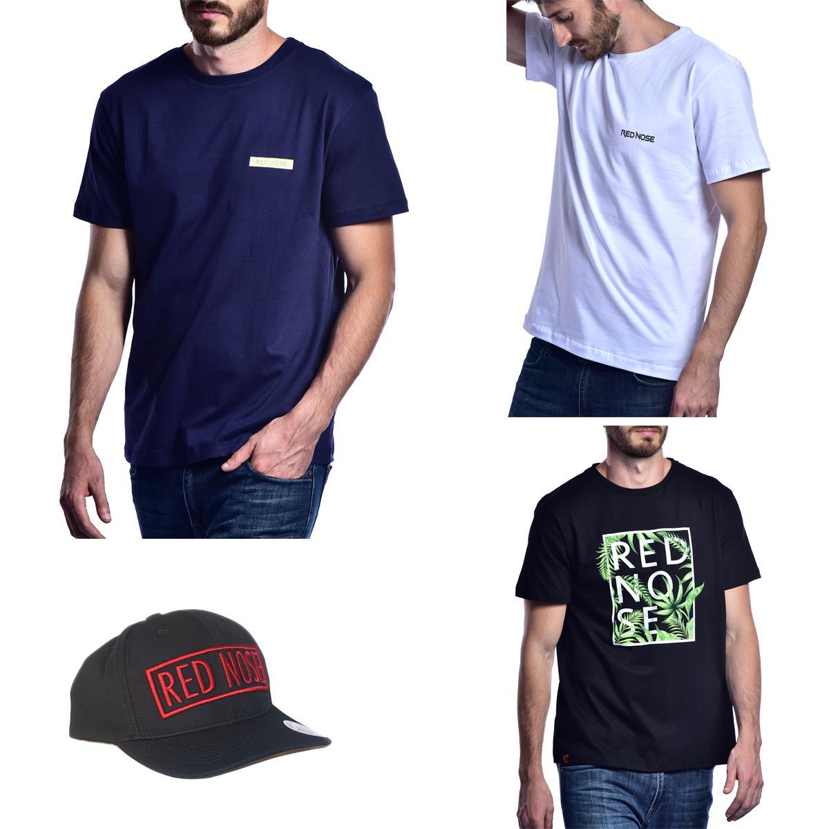 KIT 3 Camisetas e Boné Red Nose - Azul Marinho e Branco e Preto P