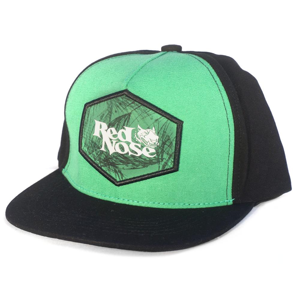 Boné Red Nose Snapback com ajuste em Couro Verde e Preto