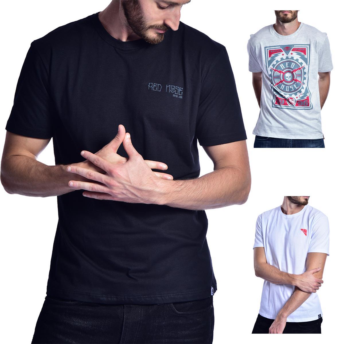 KIT 3 Camisetas Red Nose  - Preto e Cinza Escuro e Branco P