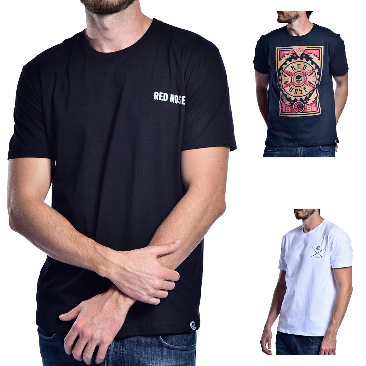 KIT 3 Camisetas Red Nose  - Preto e Azul e Branco P