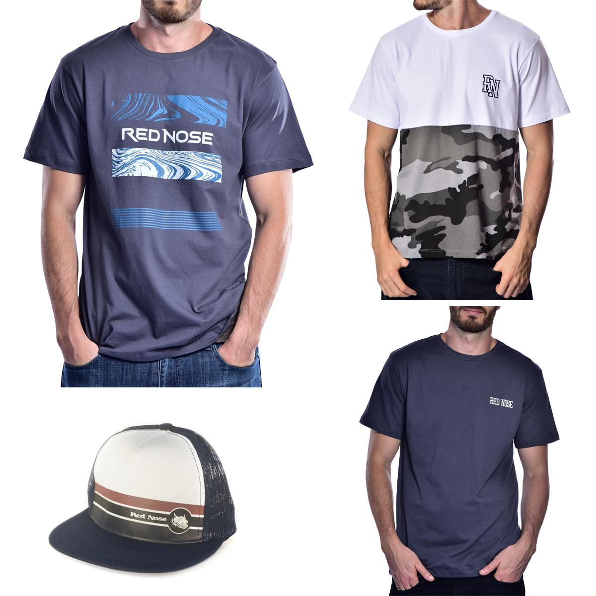 KIT 3 Camisetas e Boné Red Nose - Cinza e Branco e Cinza P