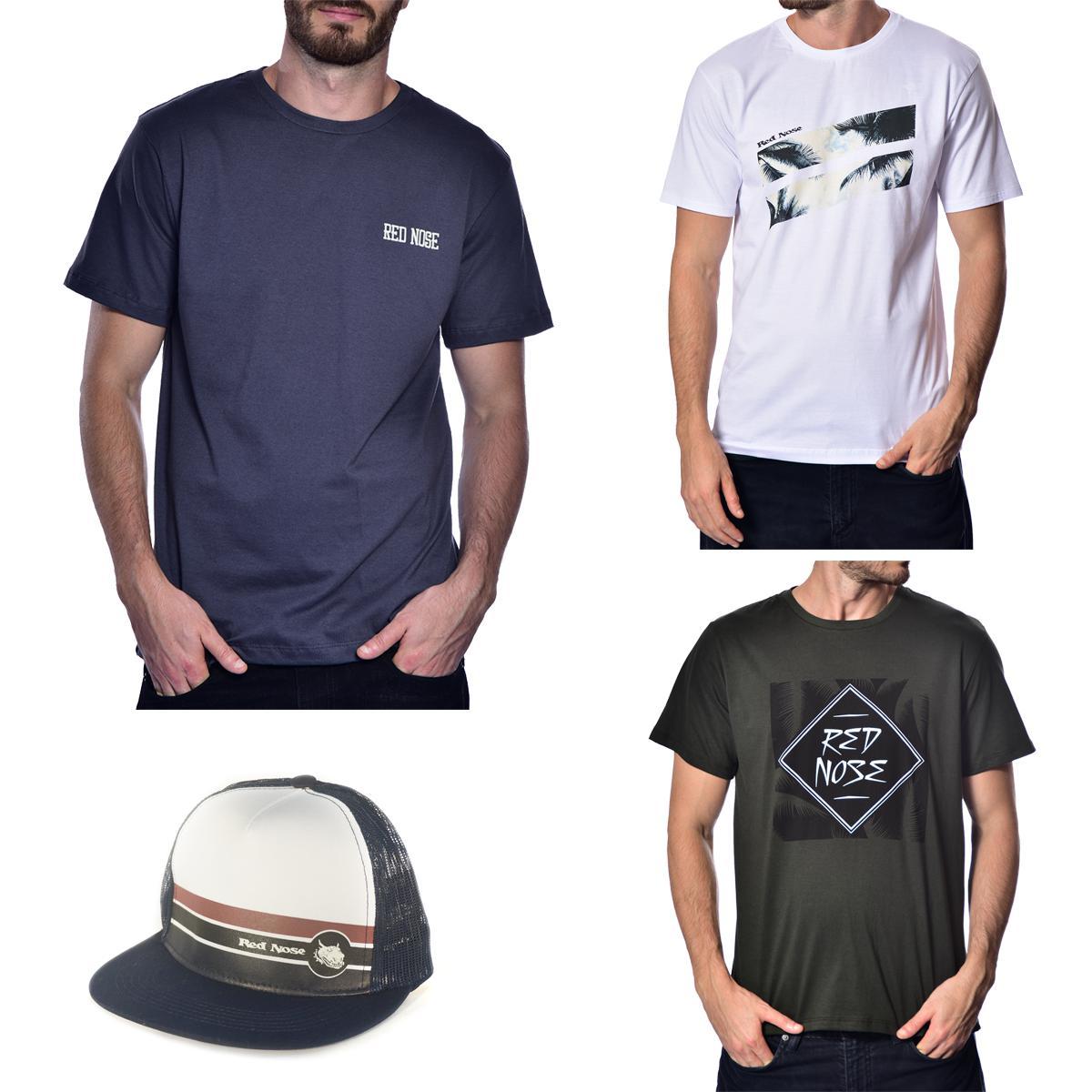 KIT 3 Camisetas e Boné Red Nose - Cinza e Branco e Verde Musgo P